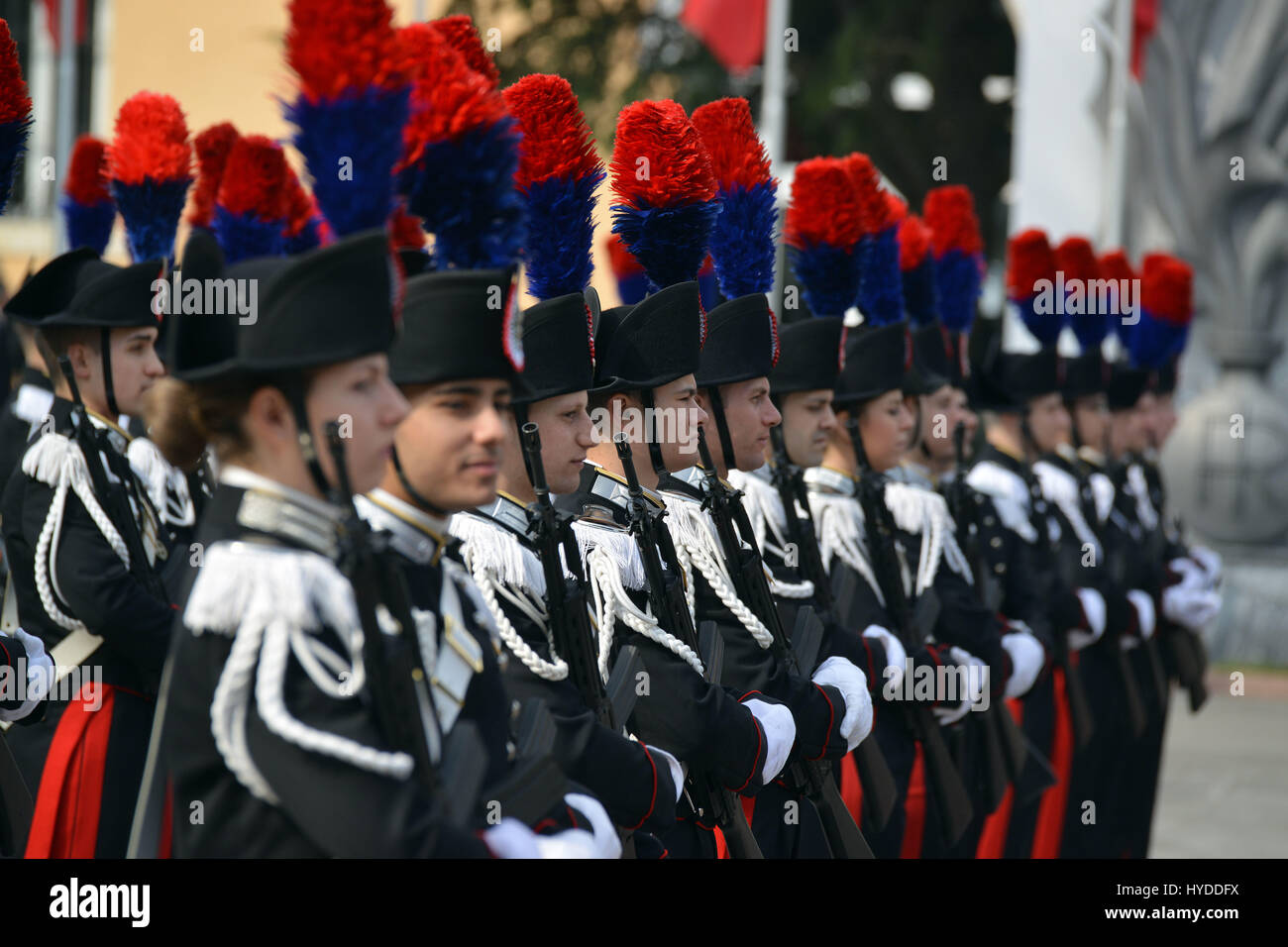 87a779aab4a Carabinieri police in dress uniforms stand at attention at the Center of  Excellence for Stability Police Units April 1