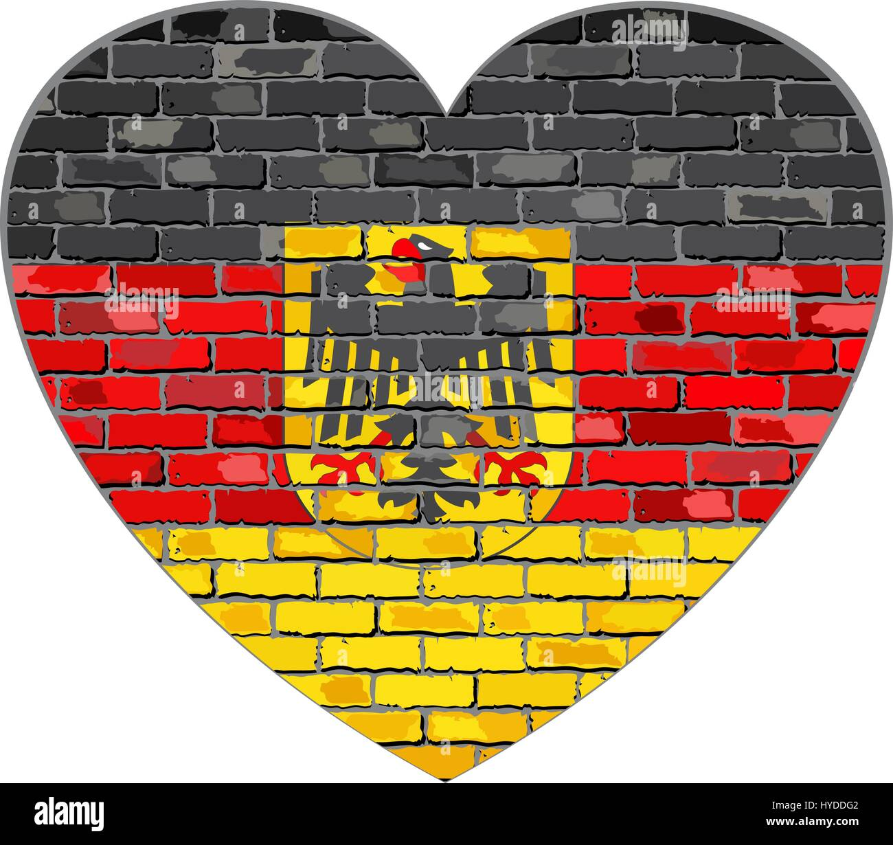 German flag on a brick wall in heart shape - Illustration Stock ...