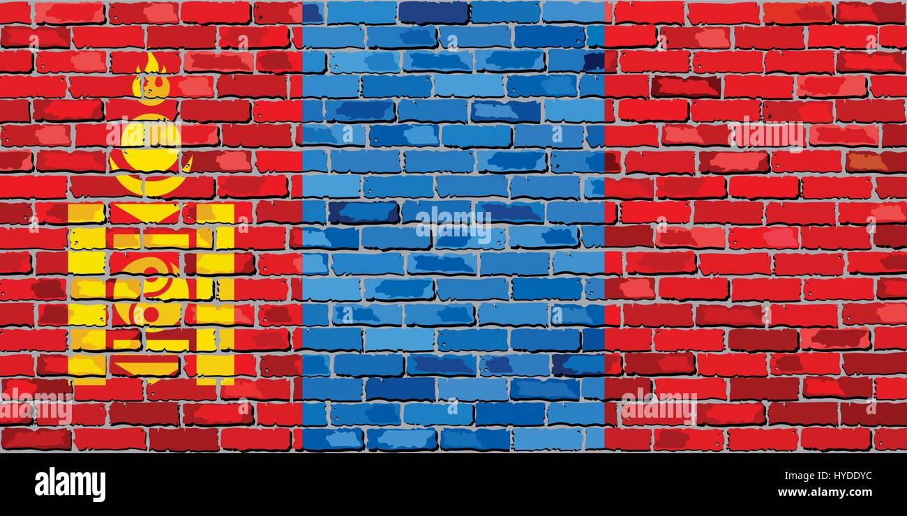Flag of Mongolia on a brick wall - Illustration,  Mongolian flag painted on brick wall - Stock Vector