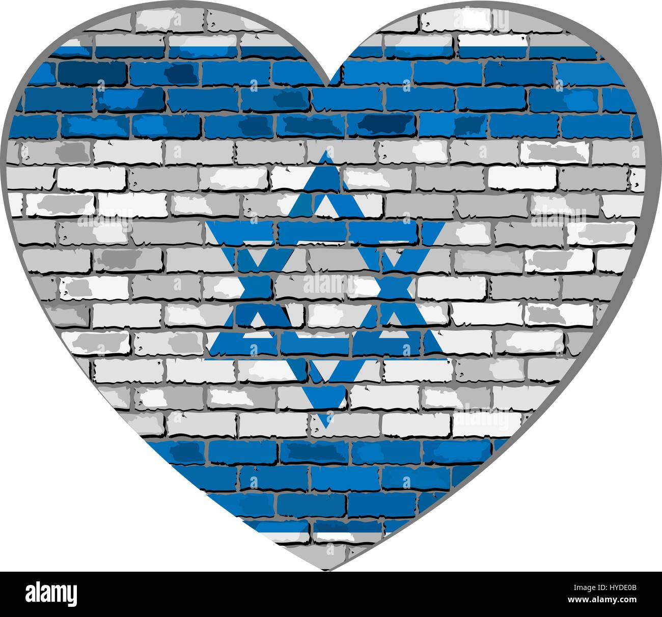 Flag of Israel on a brick wall in heart shape - Illustration, Israeli flag in brick style,  Abstract grunge Israel - Stock Vector