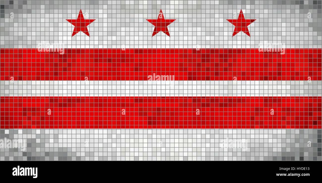 Abstract Mosaic flag of Washington, D.C. - illustration,  The flag of the state of Washington District of Columbia - Stock Vector