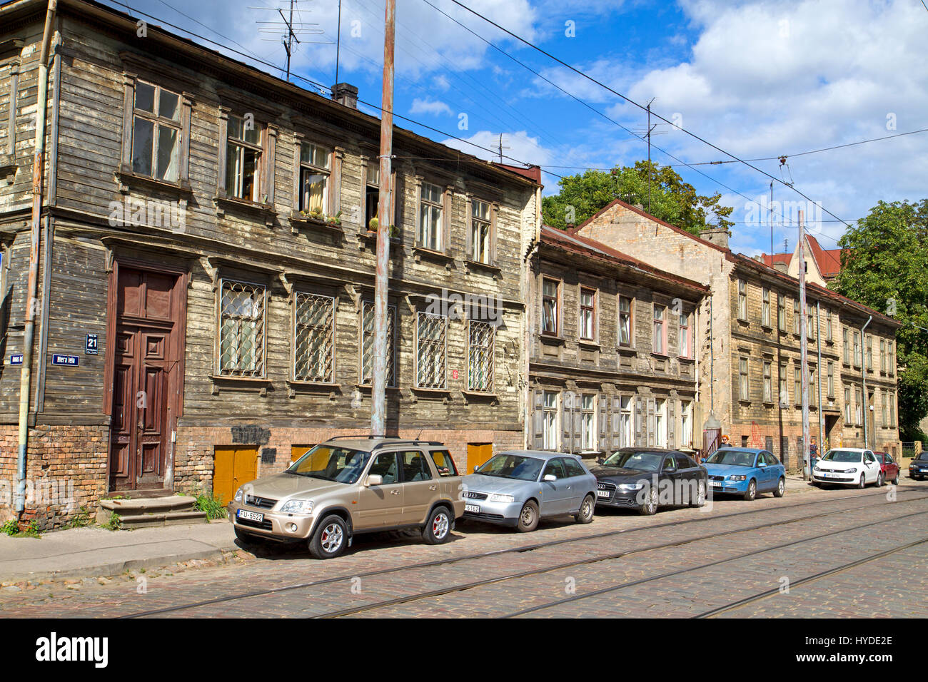 Decrepit buildings on Miera Street in Riga - Stock Image