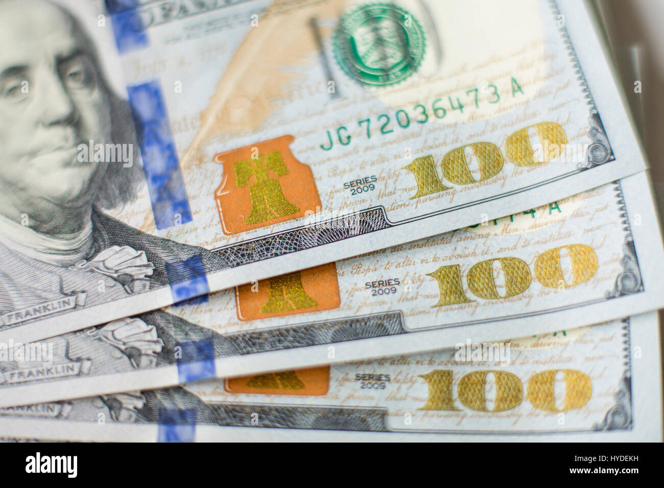 Closeup detail of brand new one hundred dollar bills in US