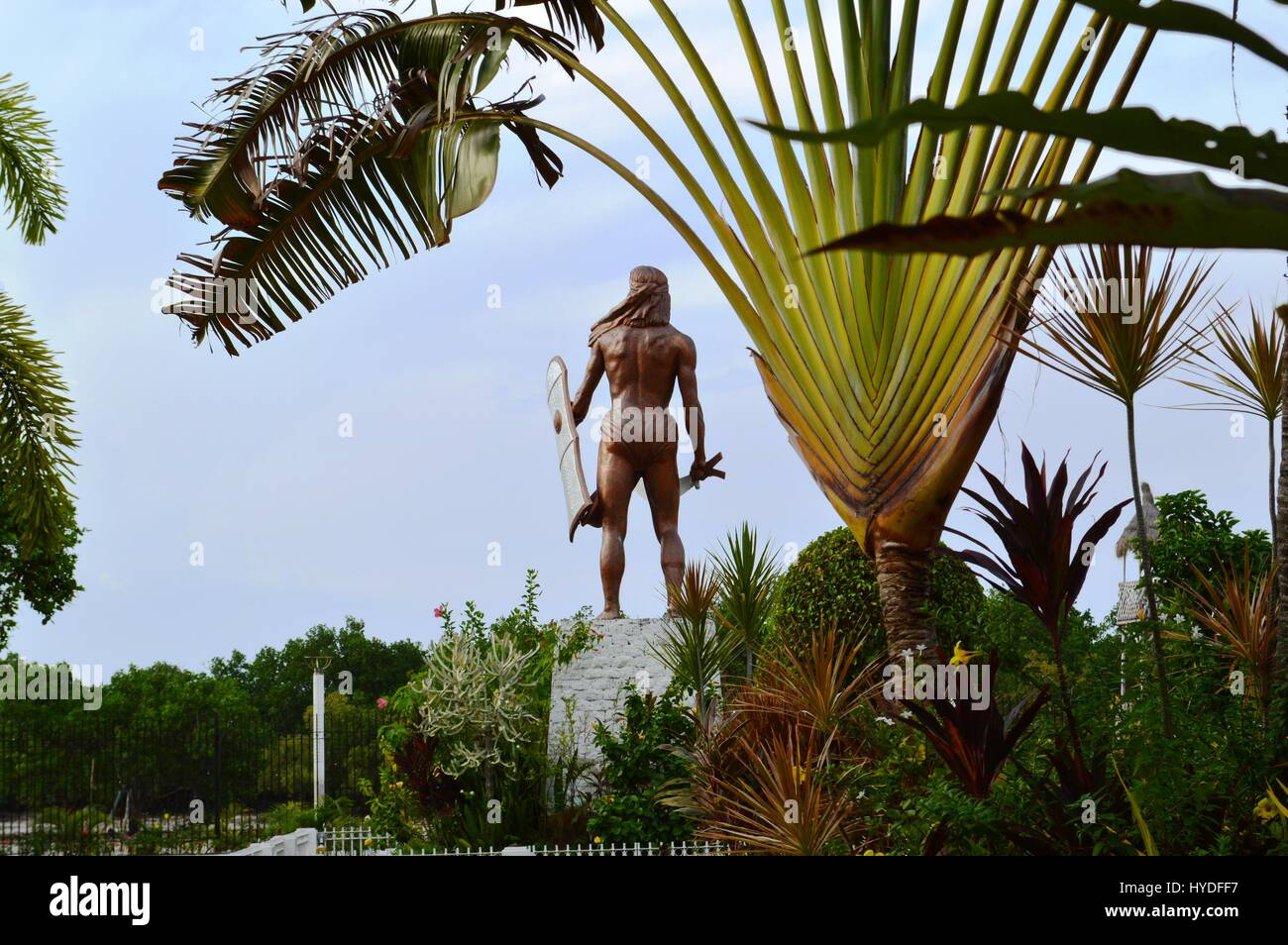 Monument of Lapu Lapu, the pre-colonial chief of Mactan at the Mactan shrine in the island of Mactan, Cebu City, - Stock Image