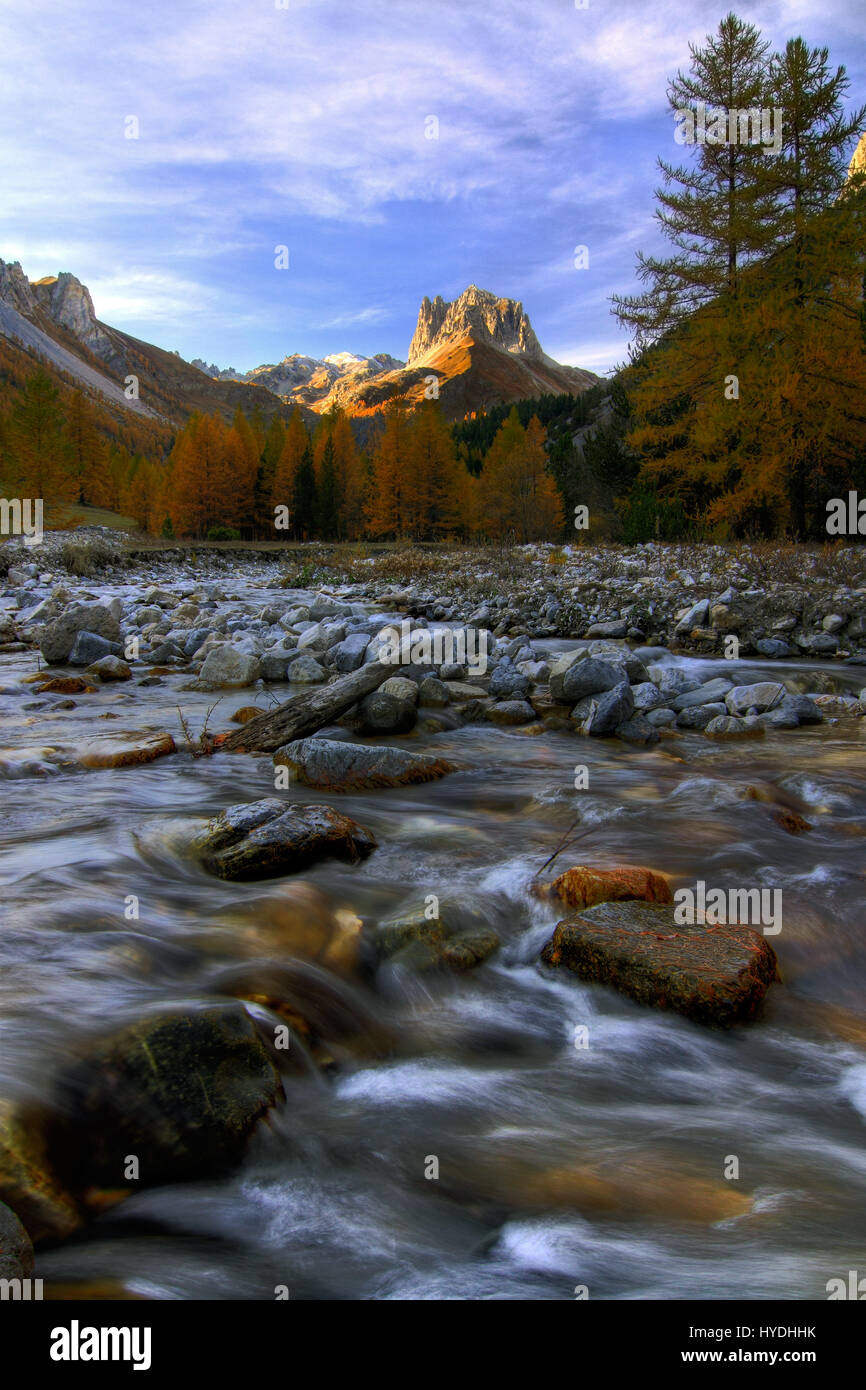 The Valle Stretta is a small, narrow valley in the Western Alps, right at the border between Italy and France. It's - Stock Image