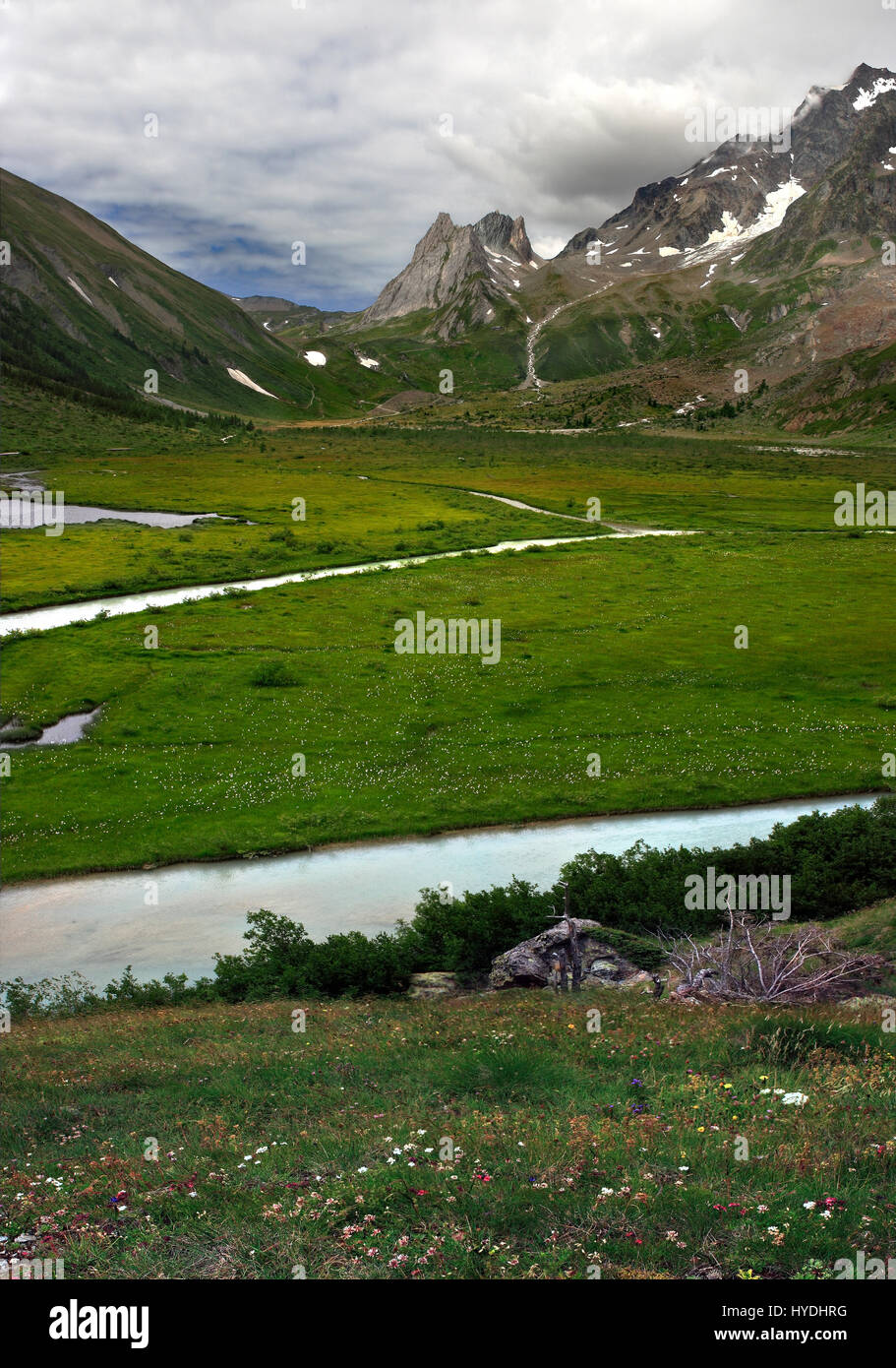 A comprehensive view of the Combal Lake, a high altitude plain lying at the feet of the massif known as Pyramides - Stock Image