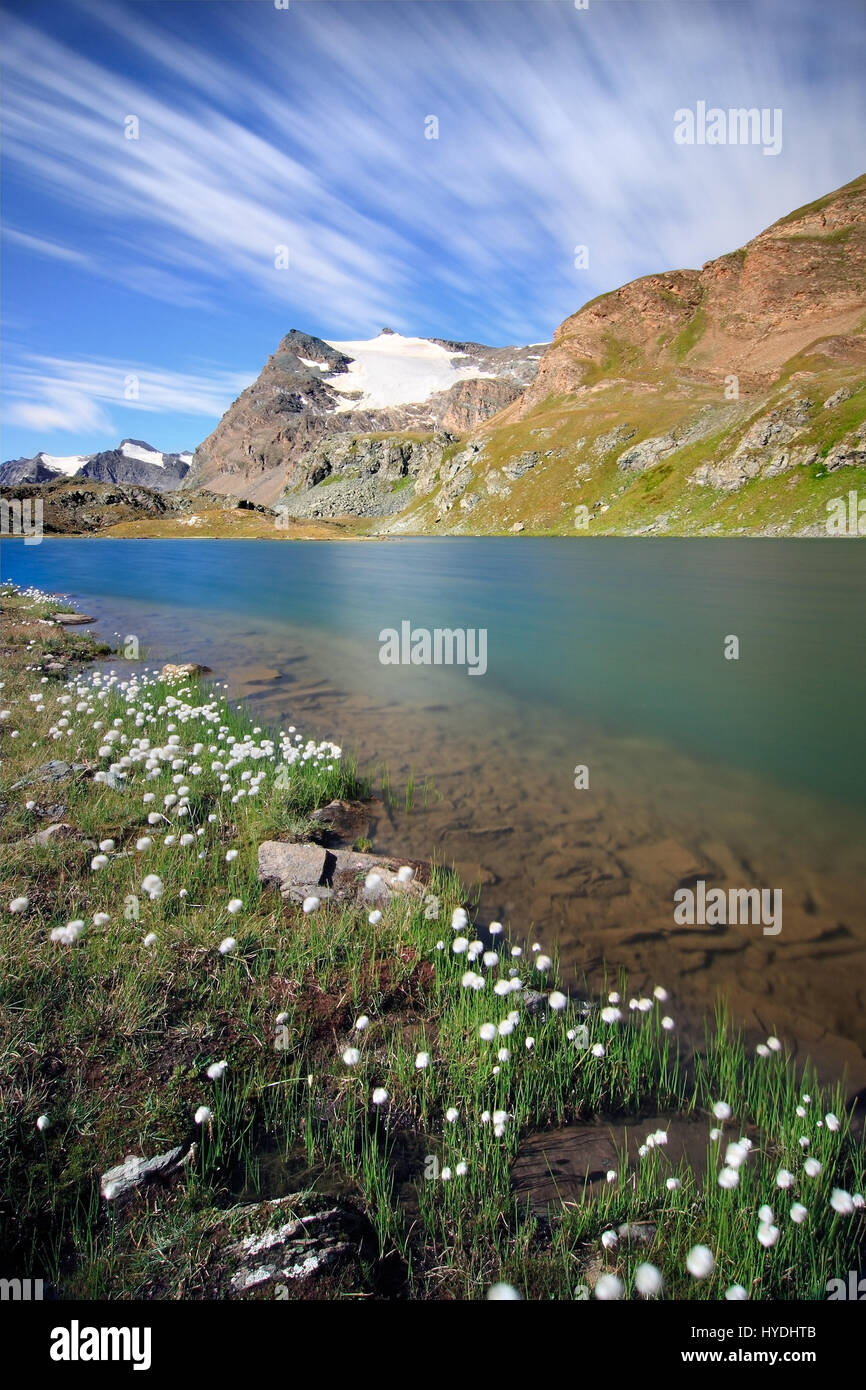 A view of Lake Leità with in the background the gliaciers of Punta Basei in the heart of the Gran Paradiso National Stock Photo