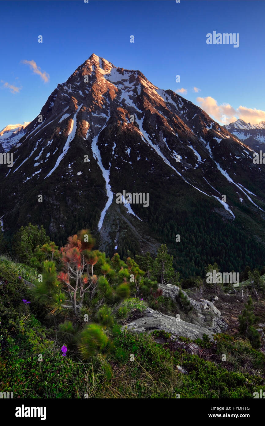 A view at sunset of the Montcenis Pass, right at the border between Italy and France - Stock Image