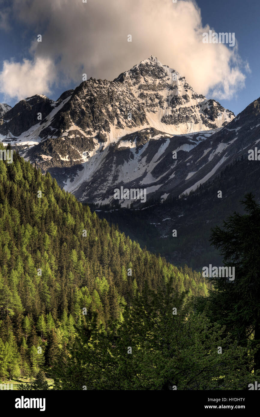 A springtime view of the Val Digne, one of the many side valleys of Aosta Valley, the wholly mountainous region - Stock Image