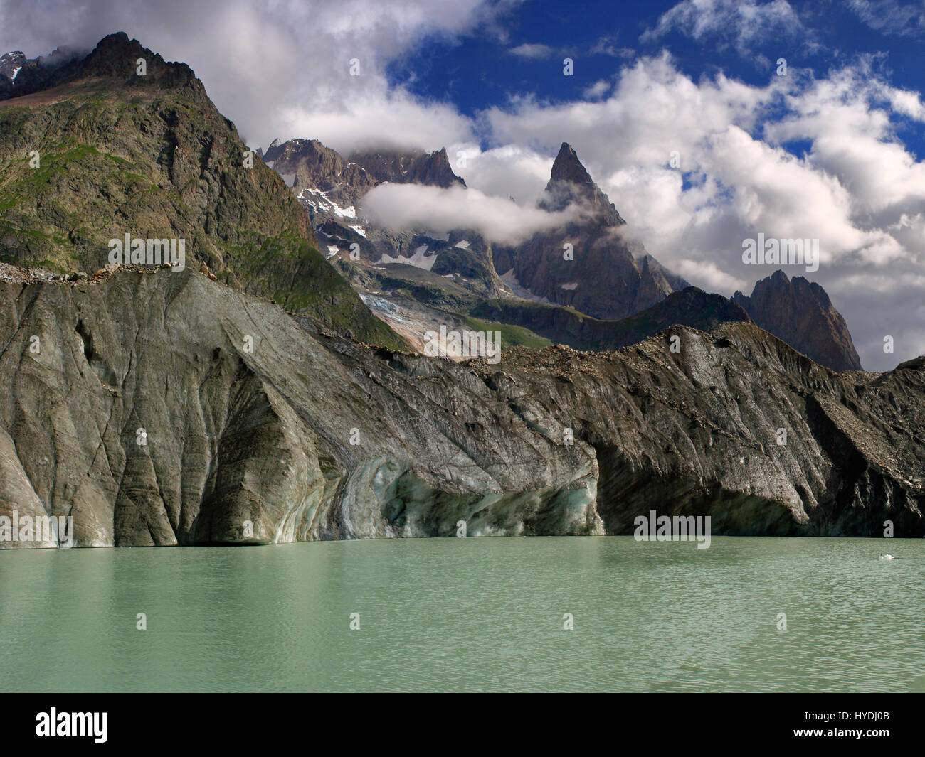 The Lac du Miage is a glacial lake placed at the end of the namesake glacier in Val Veny, a small valley in the - Stock Image