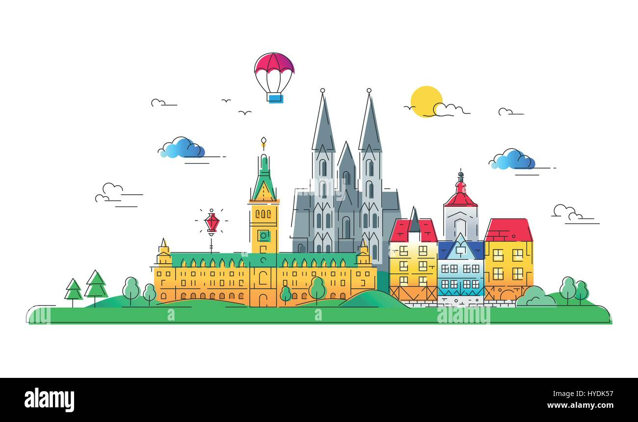 European countries - vector line travel illustration - Stock Image