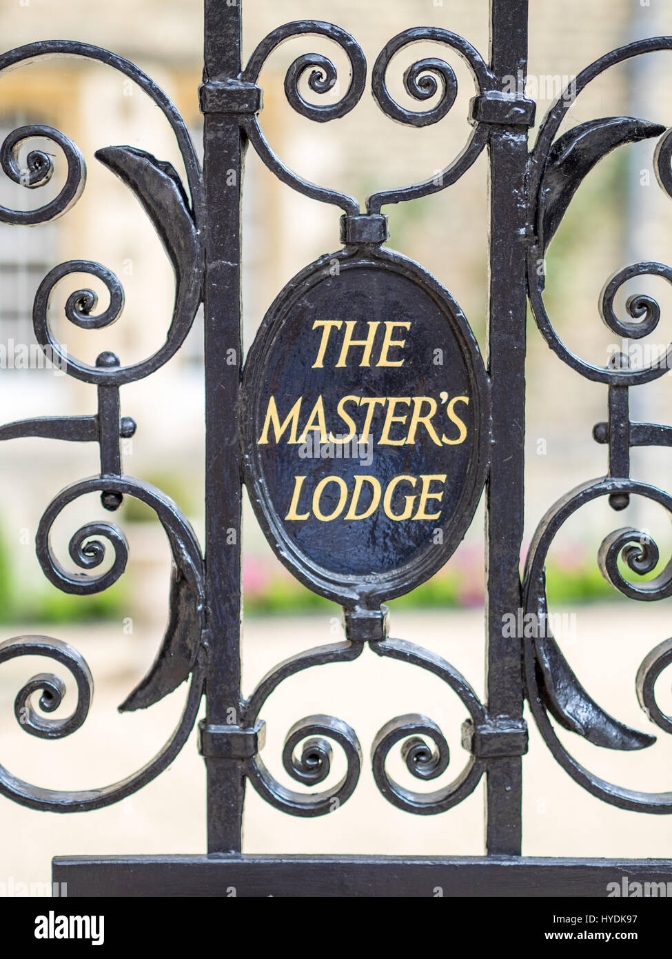 Gate to the Master's Lodge at Jesus College Cambridge UK - Stock Image