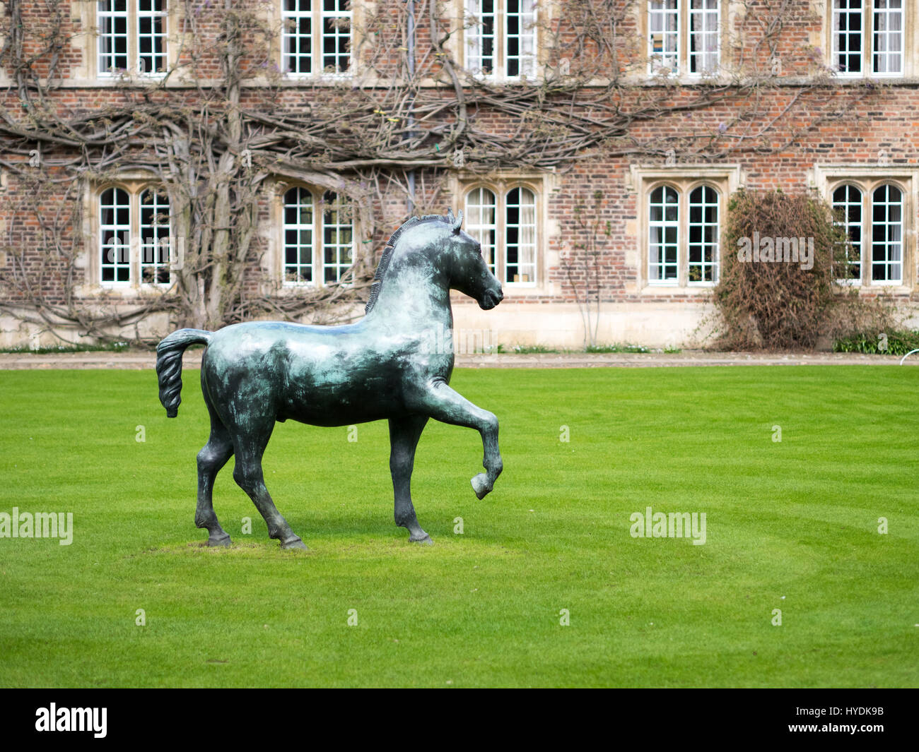 Bronze Horse sculpture by Barry Flanagan in the First Court area, Jesus College, Cambridge. Part of the University - Stock Image