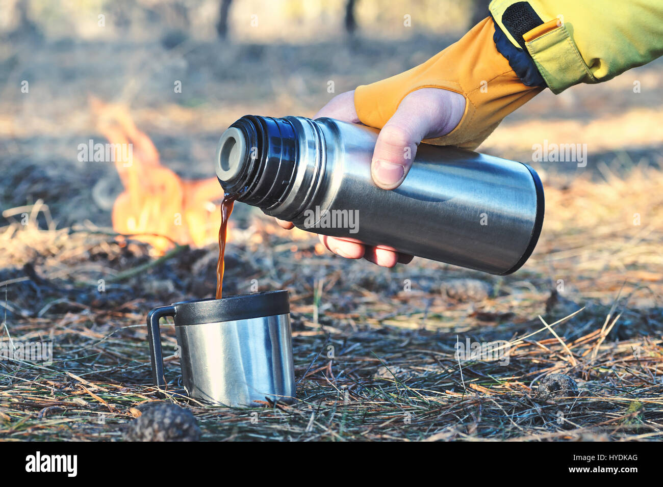 Man pours in a cup or mug hot coffee, tea or mokka from a thermos bottle outdoor near the campfire in the forest, - Stock Image