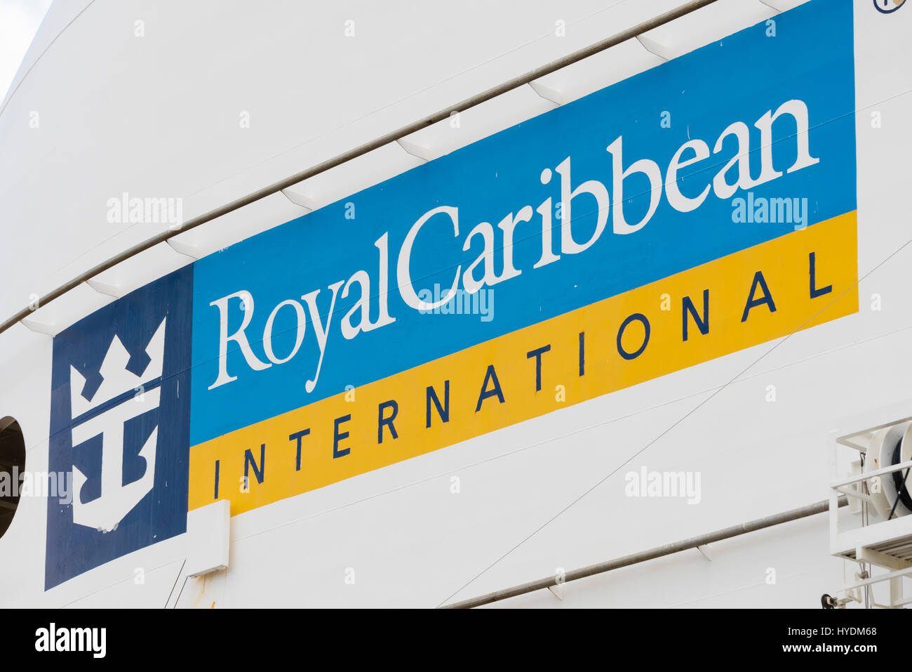 Sign of Royal Caribbean International on a cruise ship - Stock Image