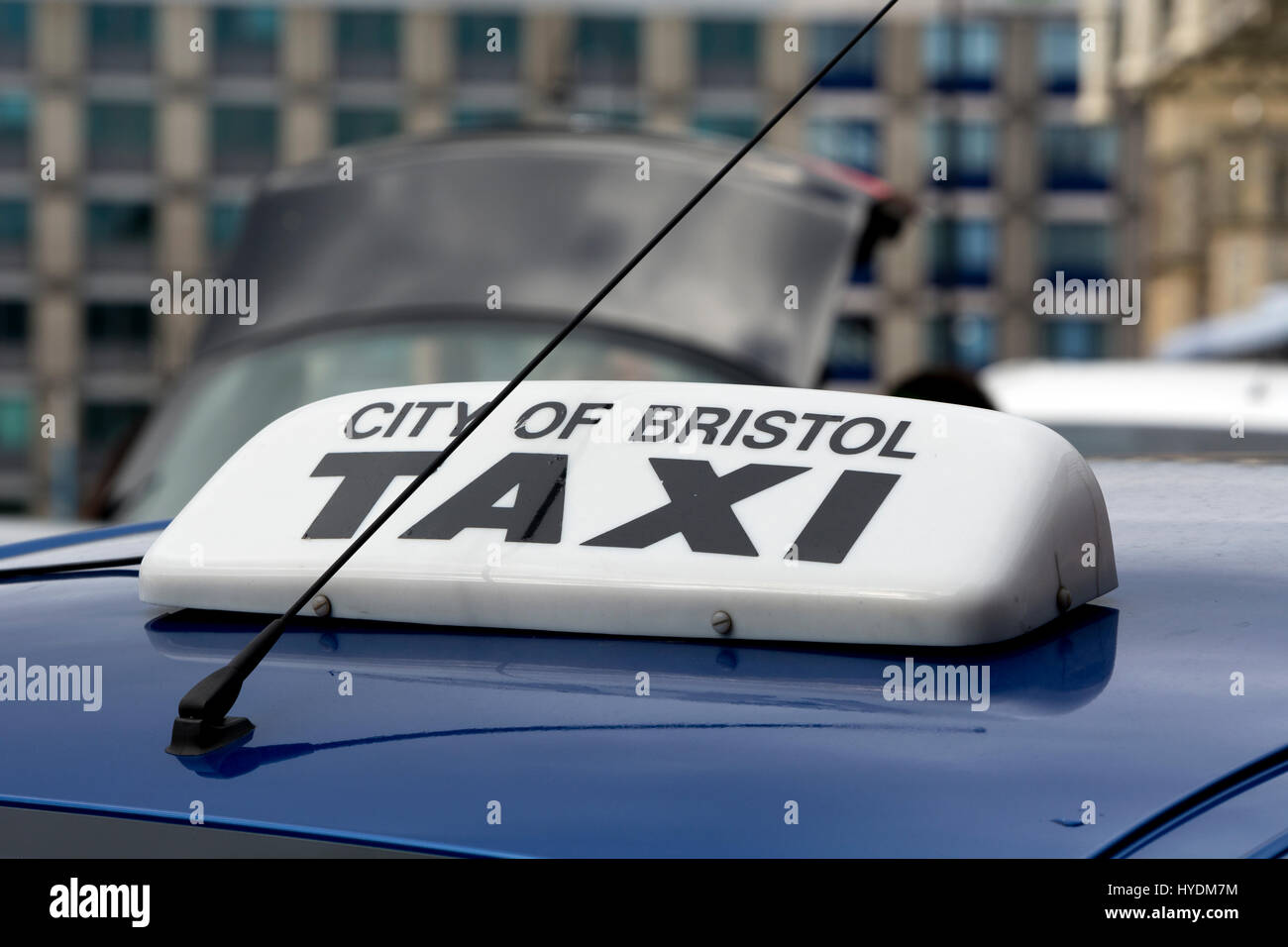 Sign on the roof of a City of Bristol taxi, Bristol, UK - Stock Image
