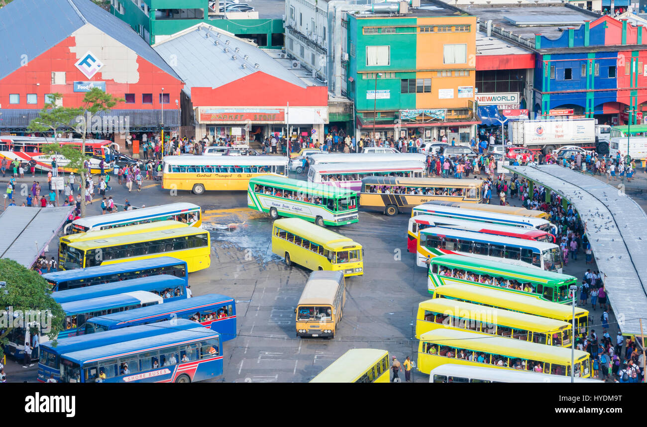 Busy bus terminal in Fiji - Stock Image
