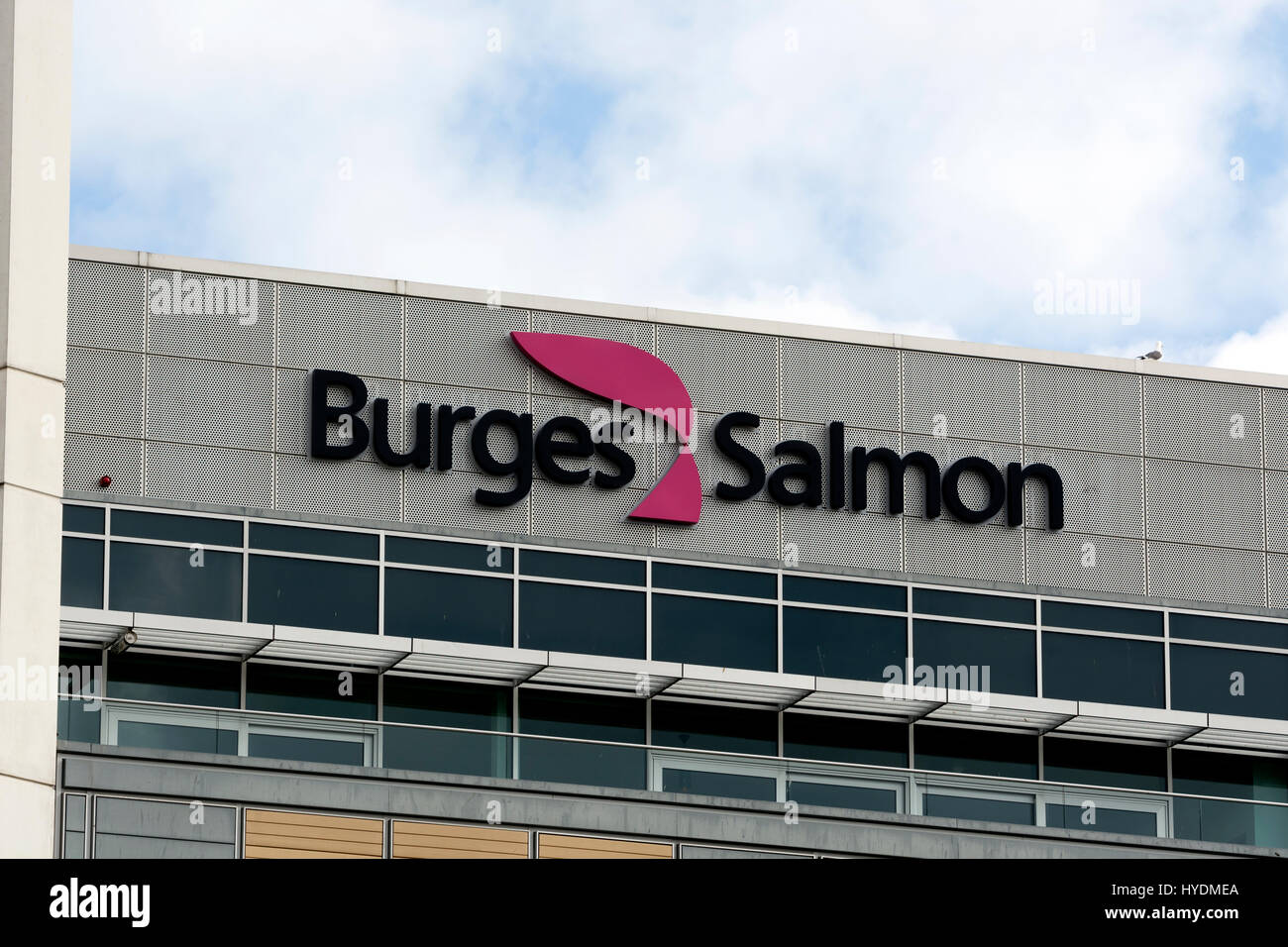 Burges Salmon law firm sign, Temple Quay, Bristol, UK - Stock Image