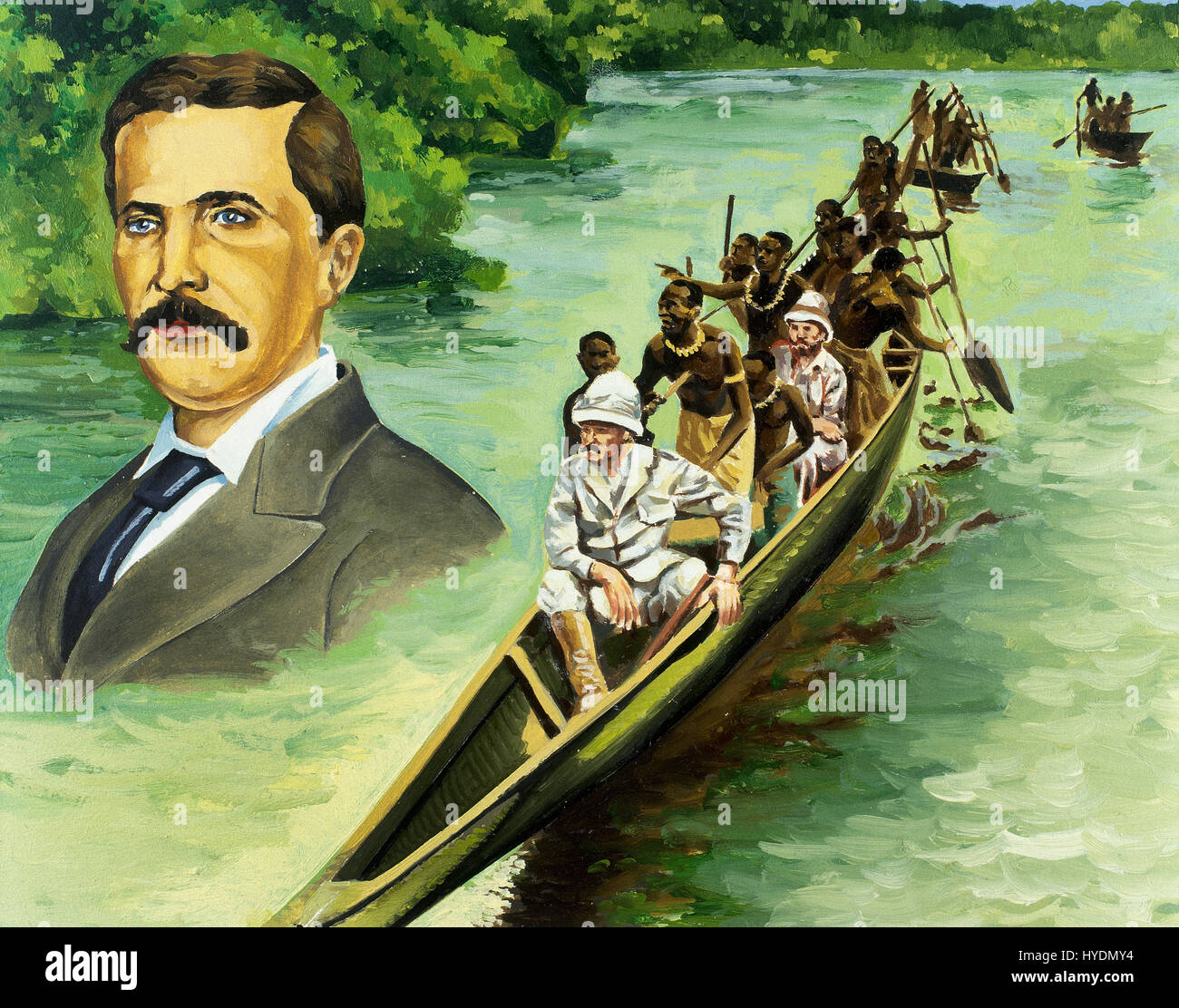 Africa. The British explorers Henry Morton Stanley (1799-1869) and David Livingstone (1813-1873) in a canoe on the - Stock Image