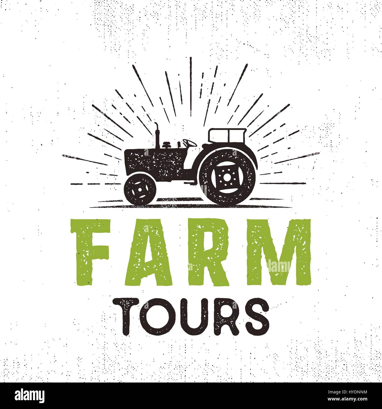 Farm tours logo with tractor and sunbursts. Retro style. Black and green colors. Isolated on white background. - Stock Vector