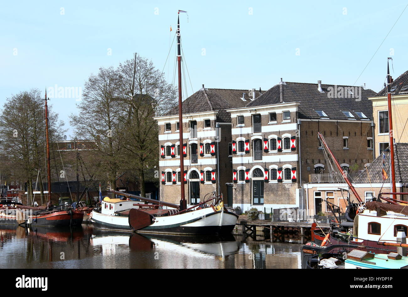 Late 19th & early 20th century historic sailing ships  at Museum Harbour (Museumhaven) in the centre of Gouda, - Stock Image