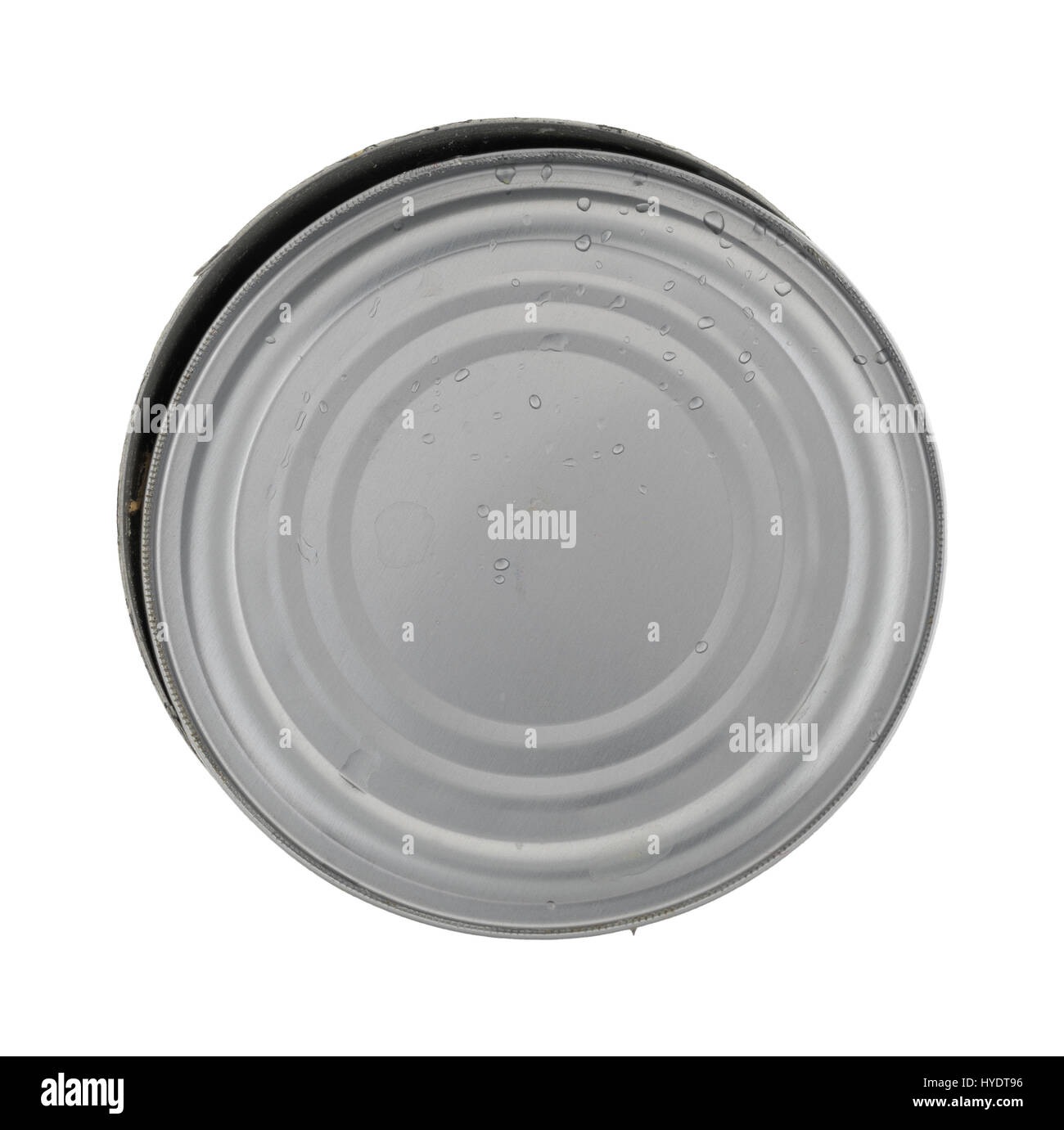 Top view of an empty tuna can with the lid still damp from being rinsed isolated on a white background. - Stock Image