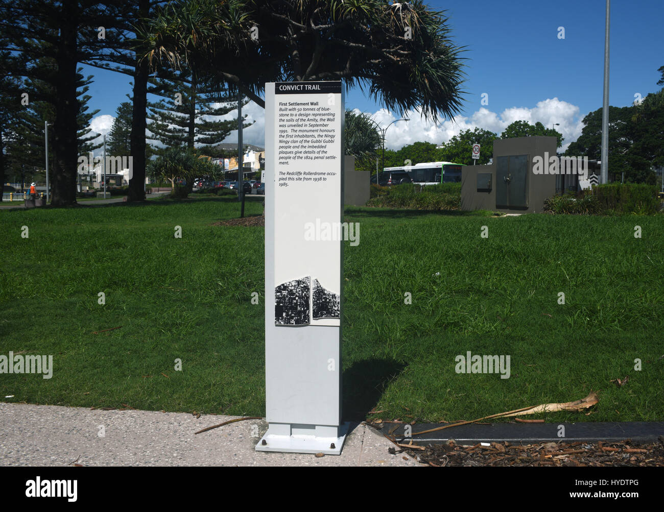 Redcliffe, Queensland, Australia: Sign on Convict Trail commemorating the arrival of British convicts in 1824 - Stock Image