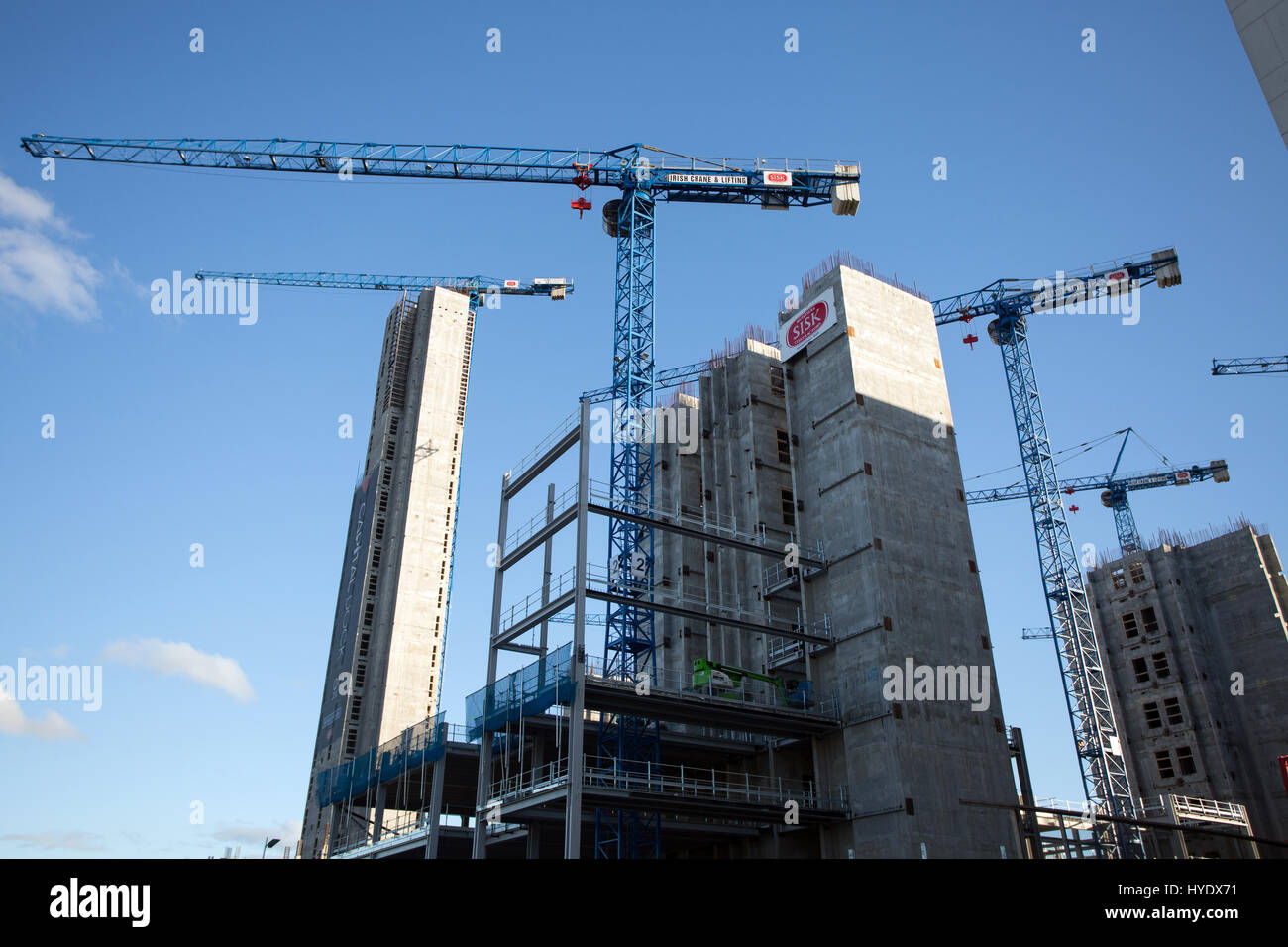 Construction work in the Dublin city docklands, Ireland. - Stock Image