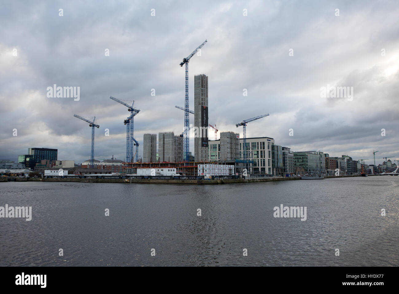 Construction work in the Dublin docklands, Ireland. - Stock Image