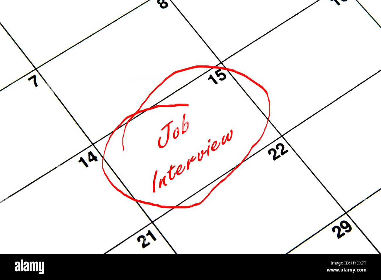 Job Interview Circled on A Calendar in Red - Stock Image
