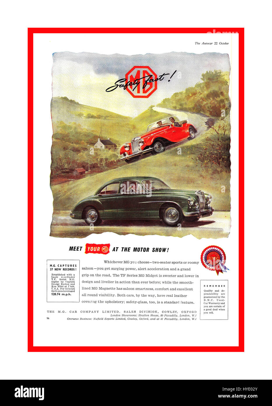 1950's Autocar Magazine page advertisement for MG sports and saloon cars featured at UK motor show - Stock Image