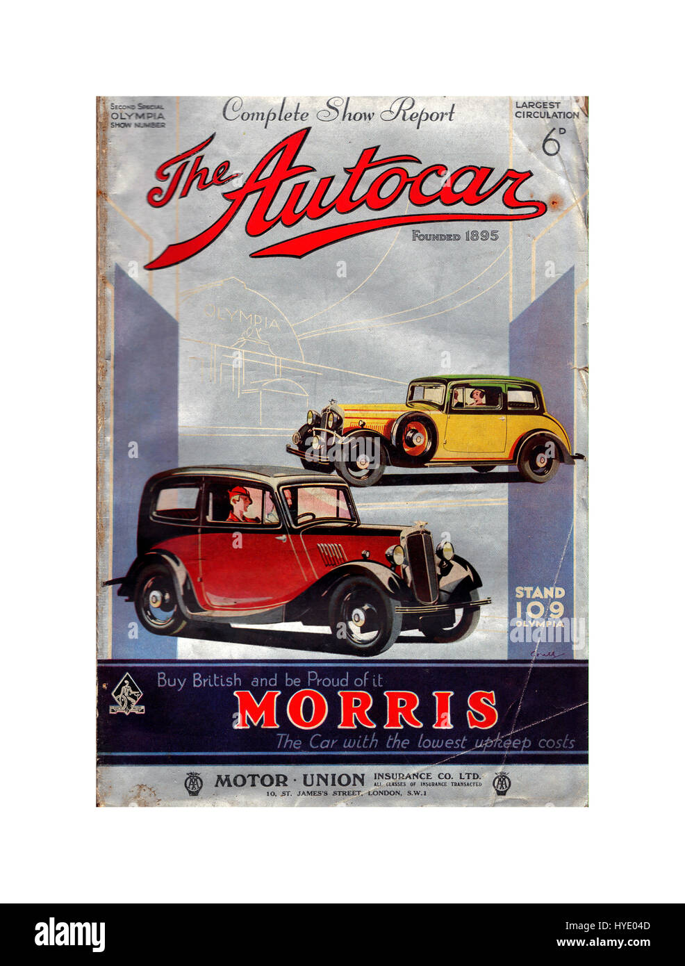 Vintage 1895 'The Autocar' car magazine priced at 6d featuring British Morris cars on special Motor Show - Stock Image