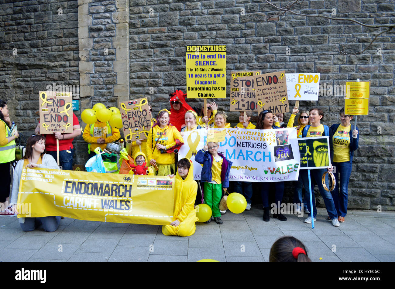 CARDIFF, UK. 25 March 2017. Around 200 were expected to be marching for Endometriosis on Saturday, in order to raise - Stock Image