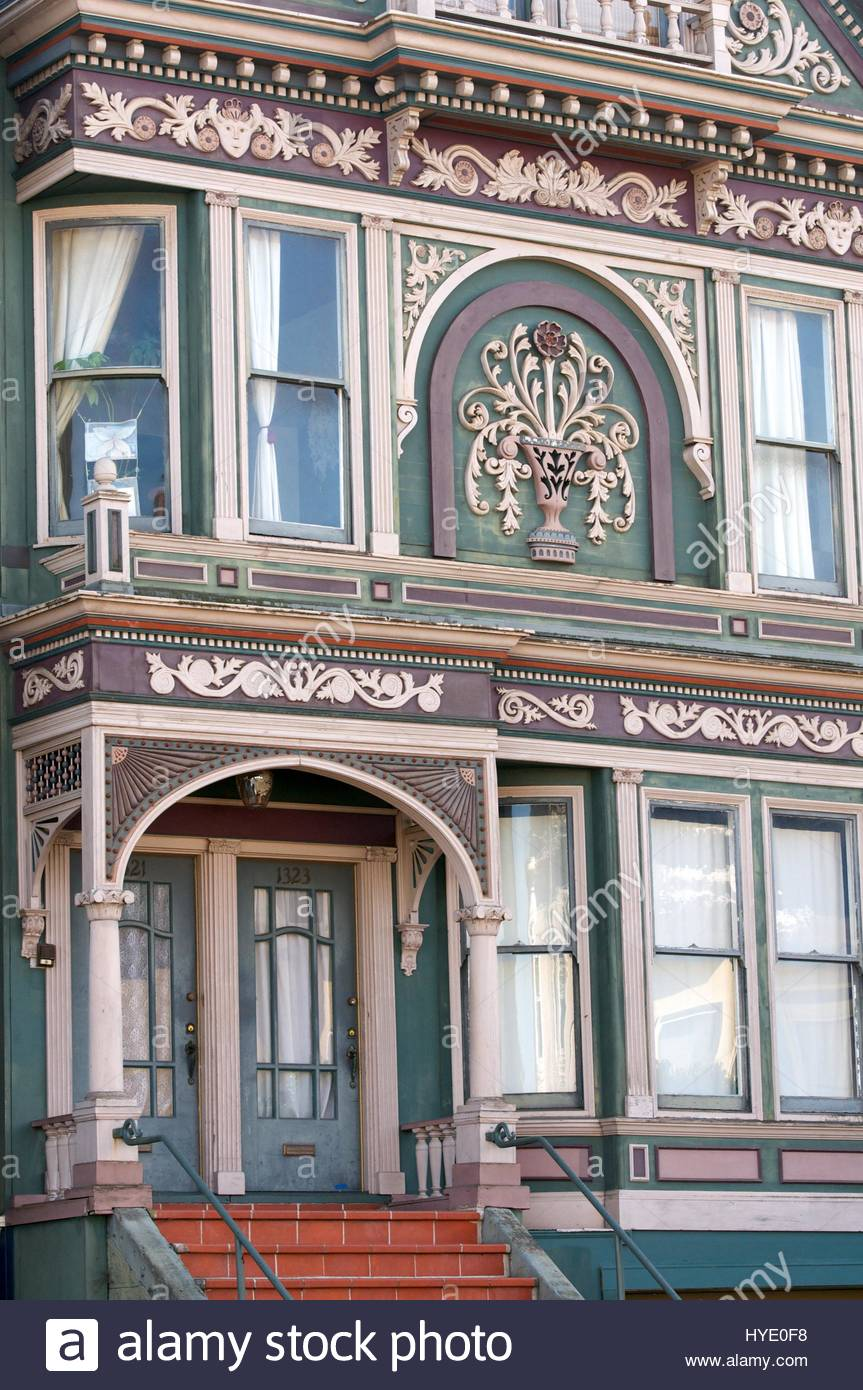 Facade of a colorful Victorian home in the Haight-Ashbury district of San Francisco, California. - Stock Image