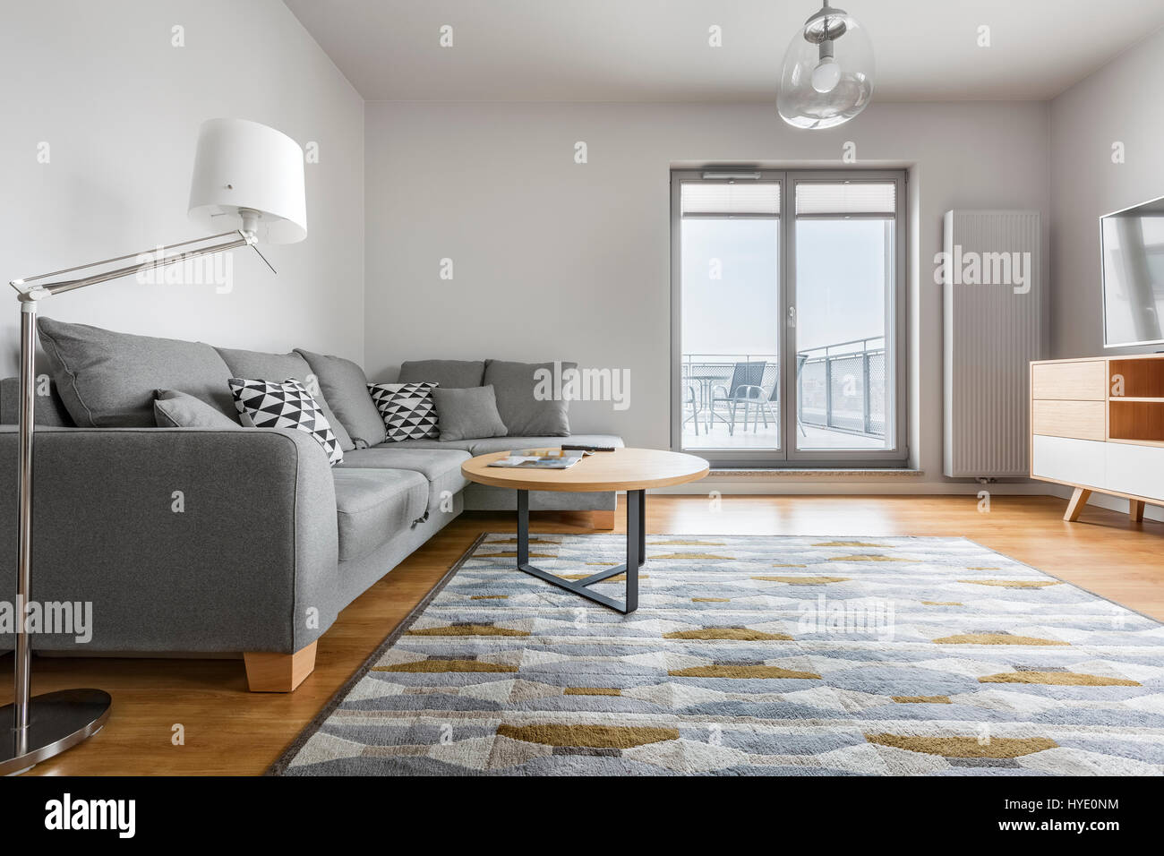 Modern Grey And White Living Room With Stylish Sofa Carpet