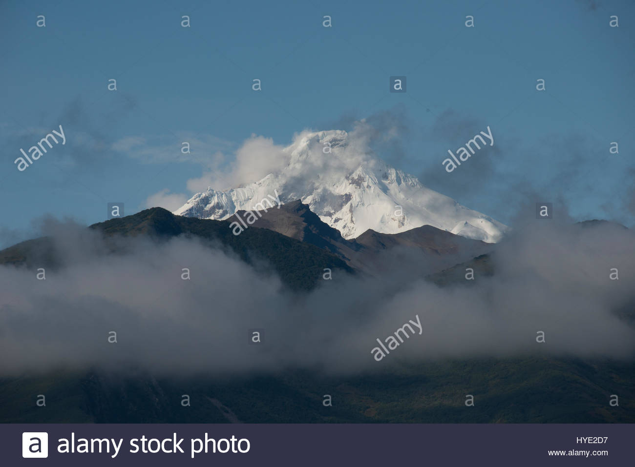 Mount Redoubt in Lake Clark National Park. - Stock Image
