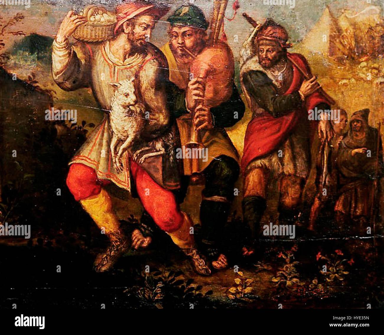 Vasco Pereira Lusitano   Shepherds (detail) - Stock Image