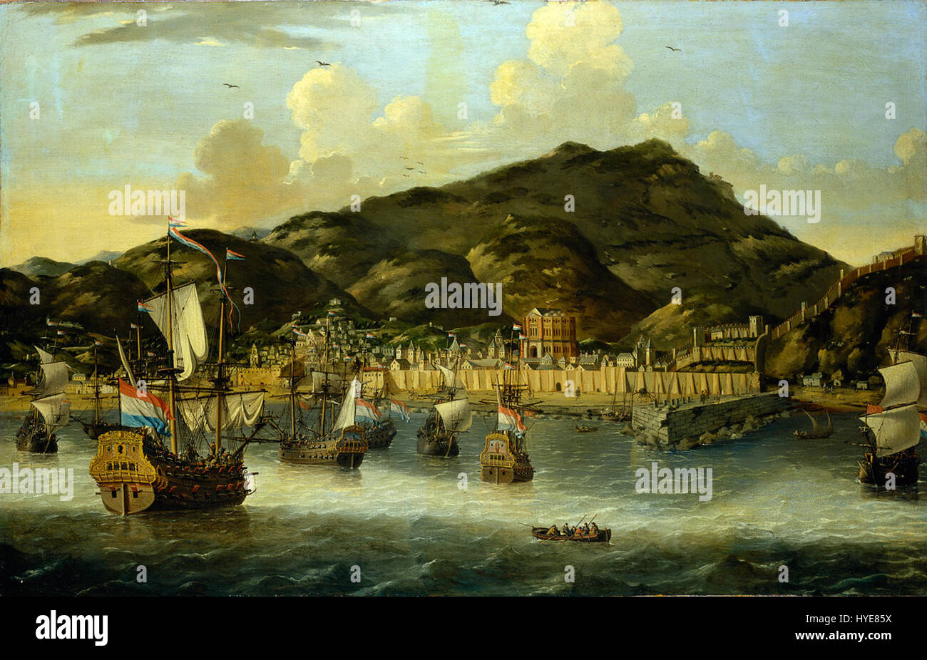 Reinier Nooms   Dutch Ships off Tripoli - Stock Image