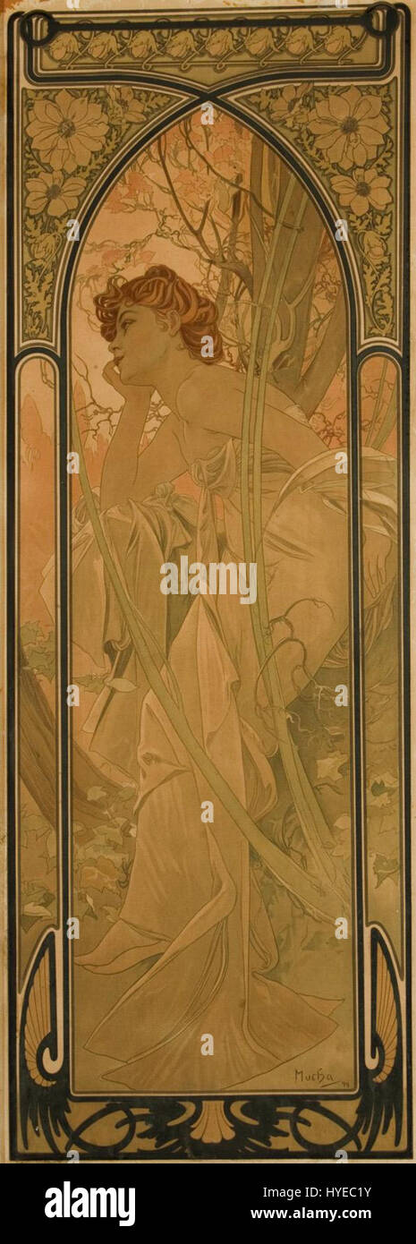 Alfons Mucha Abend 1899 Lithographie - Stock Image