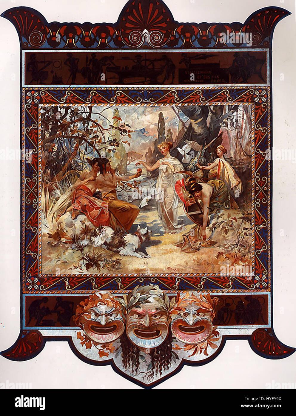 Mucha The Judgement of Paris (calendar) 1895 - Stock Image