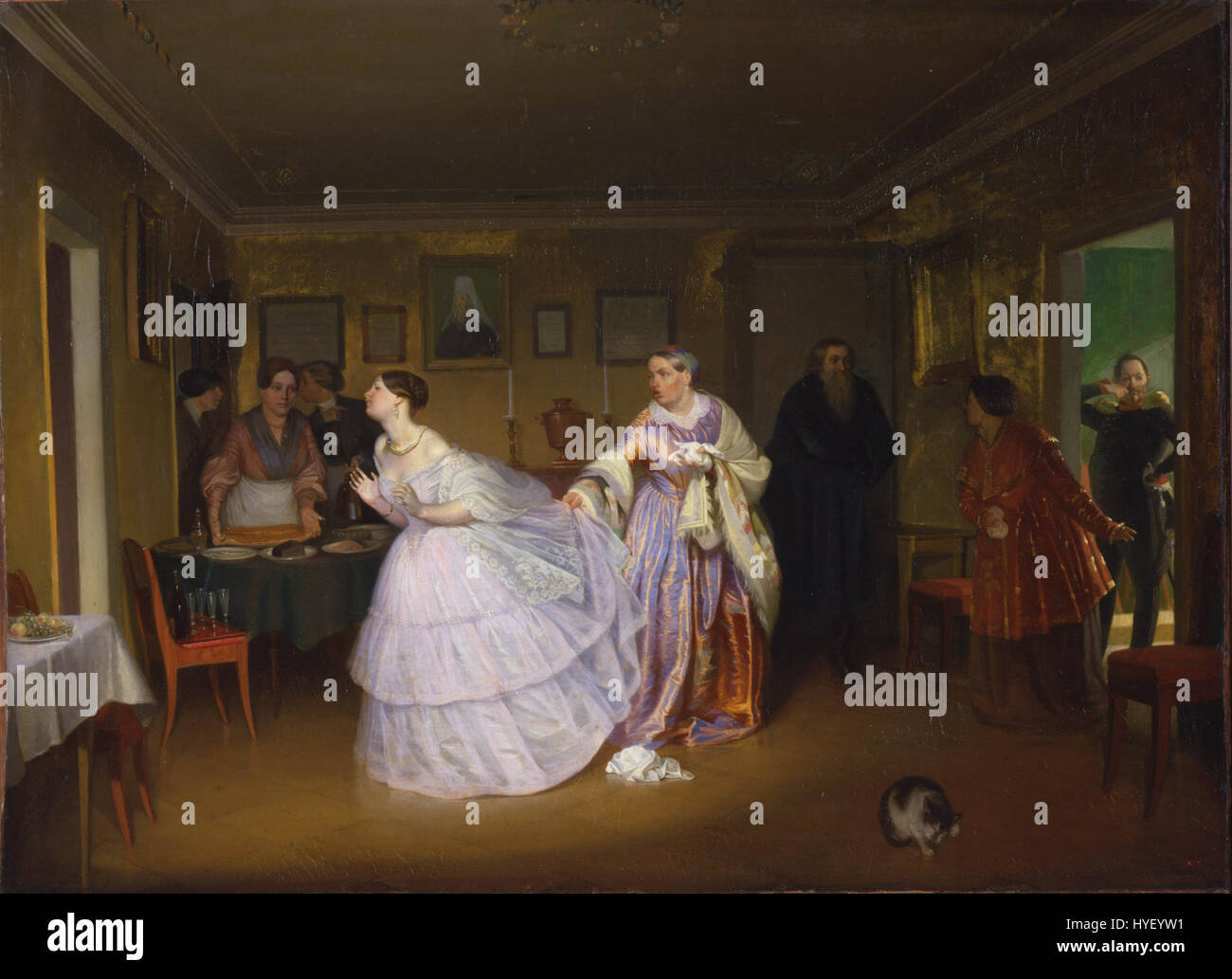 Pavel Fedotov   The Major Makes a Proposal (Inspecting a Bride in a Merchant's House)   Google Art Project - Stock Image