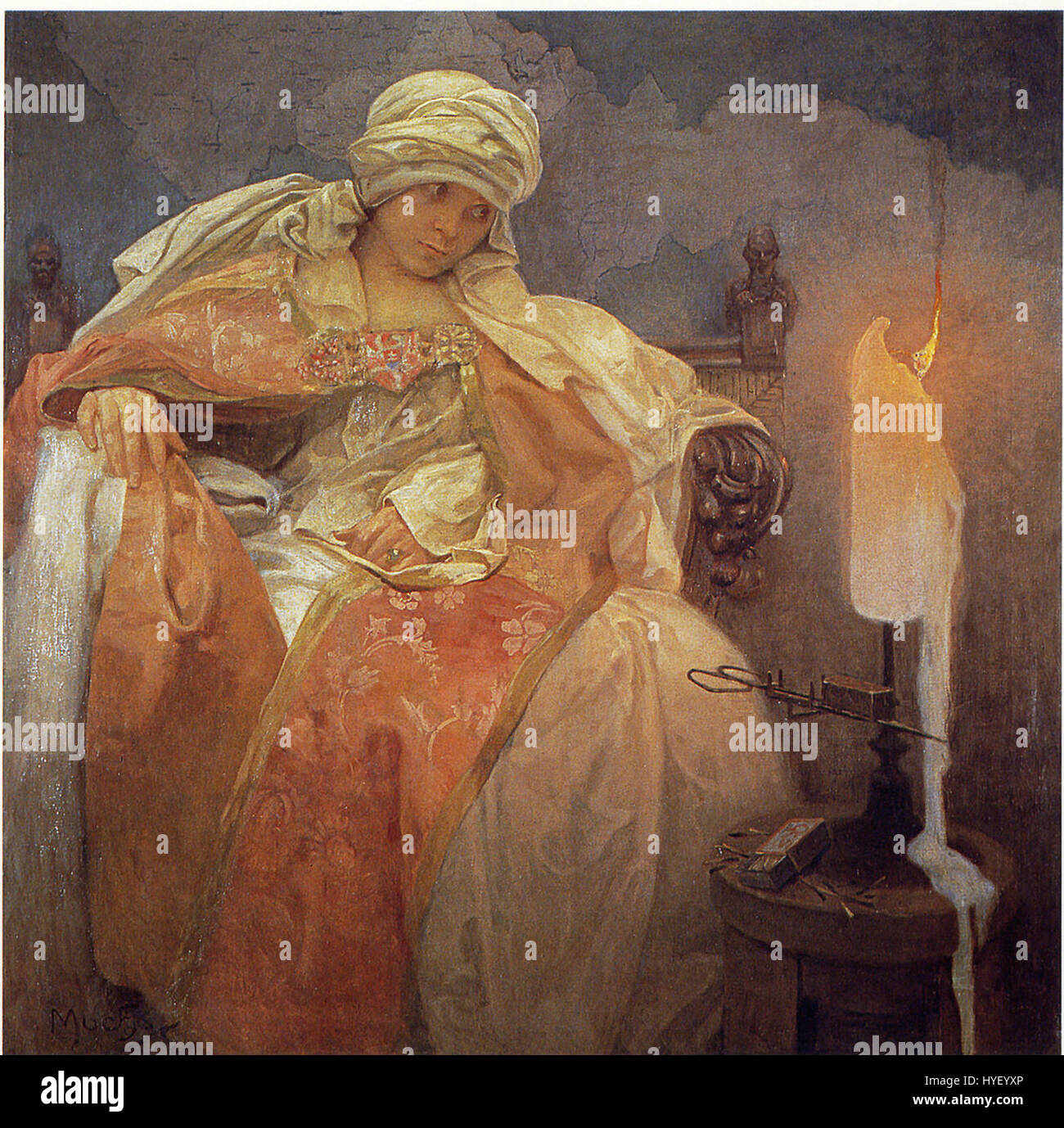 Mucha, Alfons   Woman With a Burning Candle - Stock Image