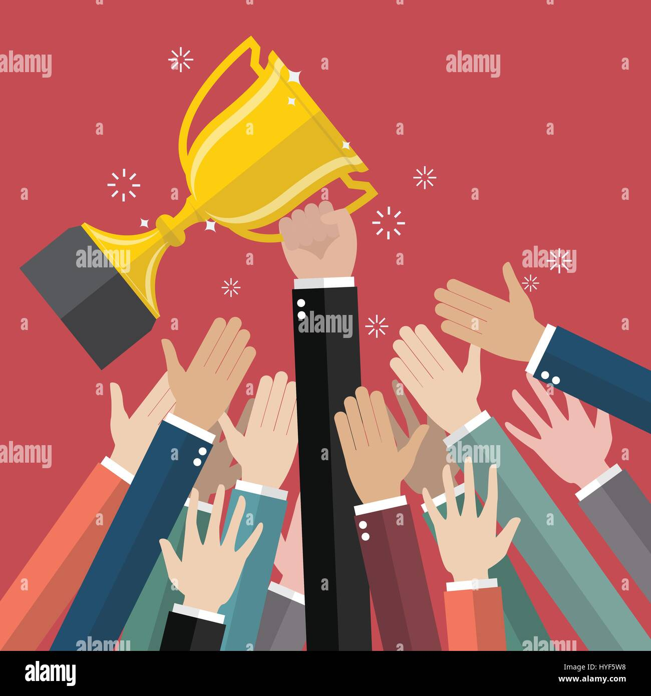 Fighting for a winning trophy. Vector illustration - Stock Vector
