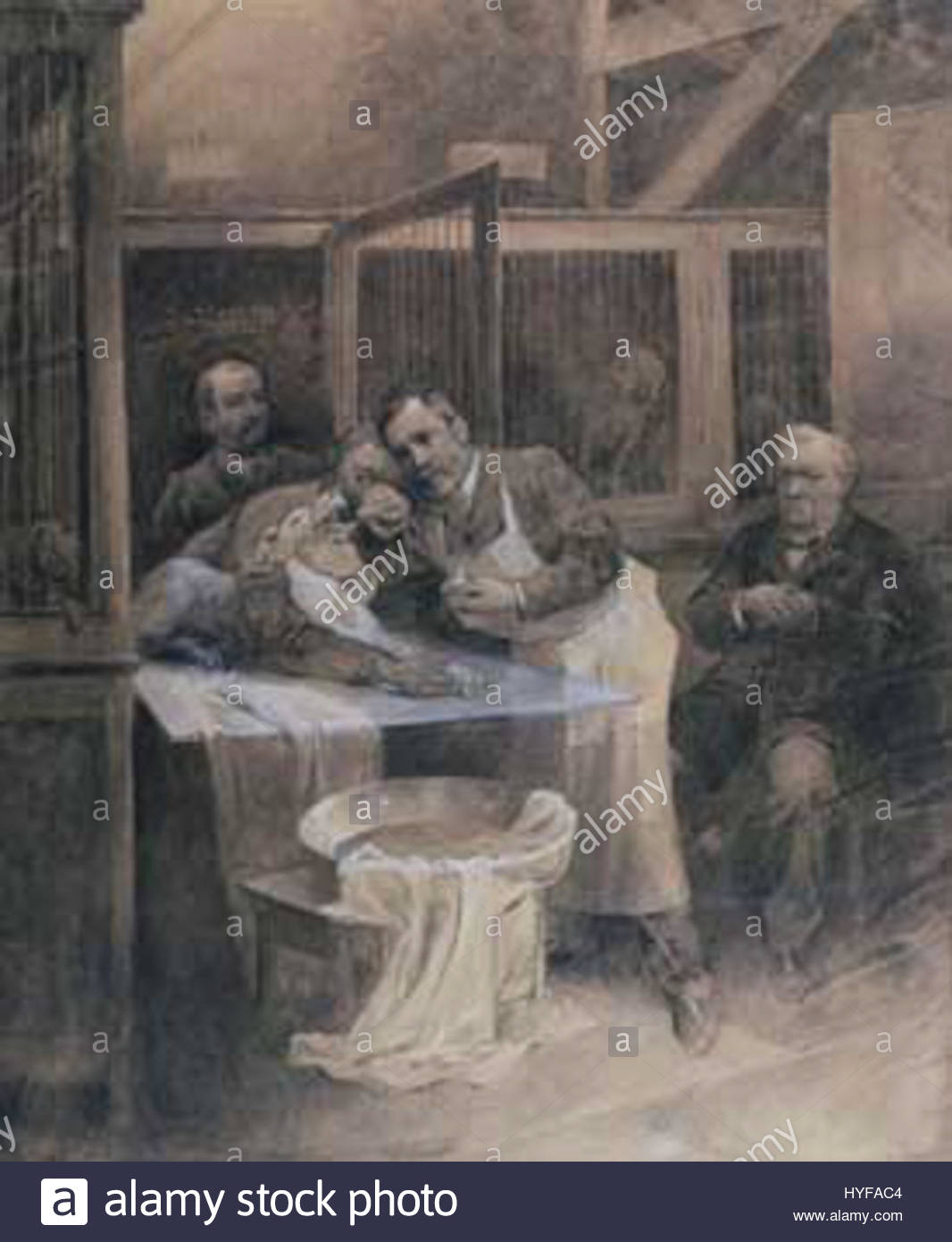 Pasteur and rabid dog by Alfons Mucha - Stock Image