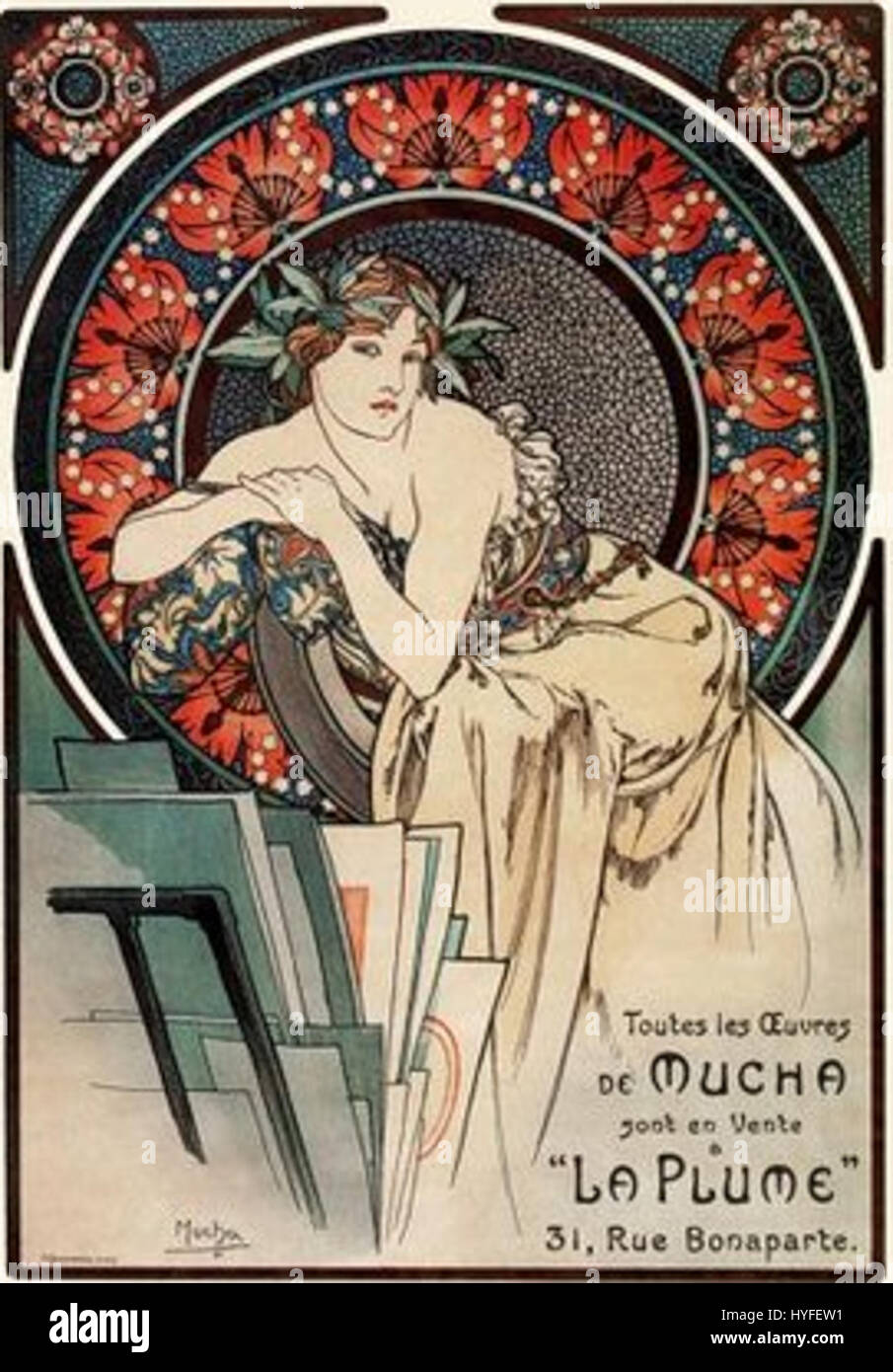 Mucha Woman with Pppies 1898 - Stock Image