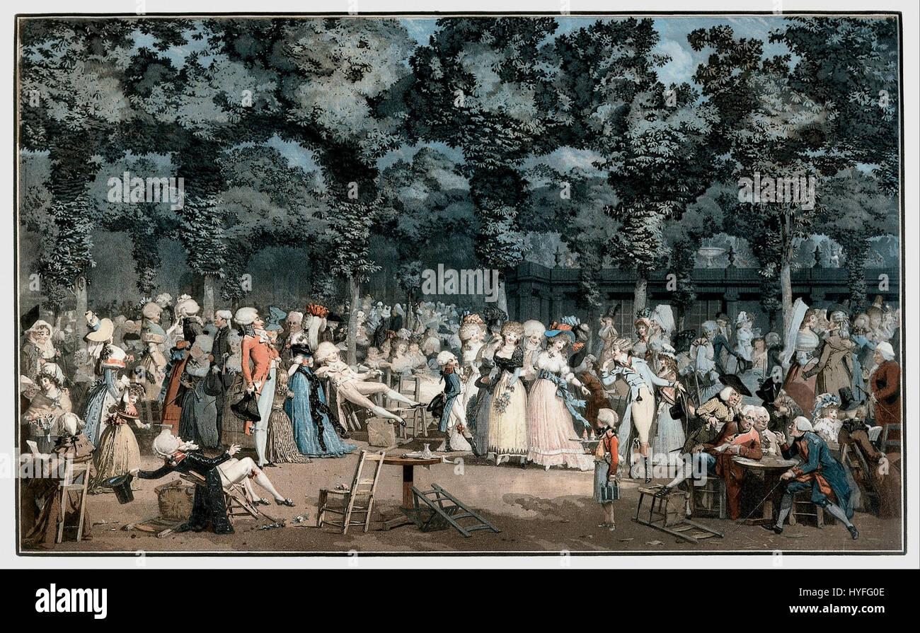Philibert Louis Debucourt   The Public Promenade (La Promenade Publique)   Google Art Project - Stock Image