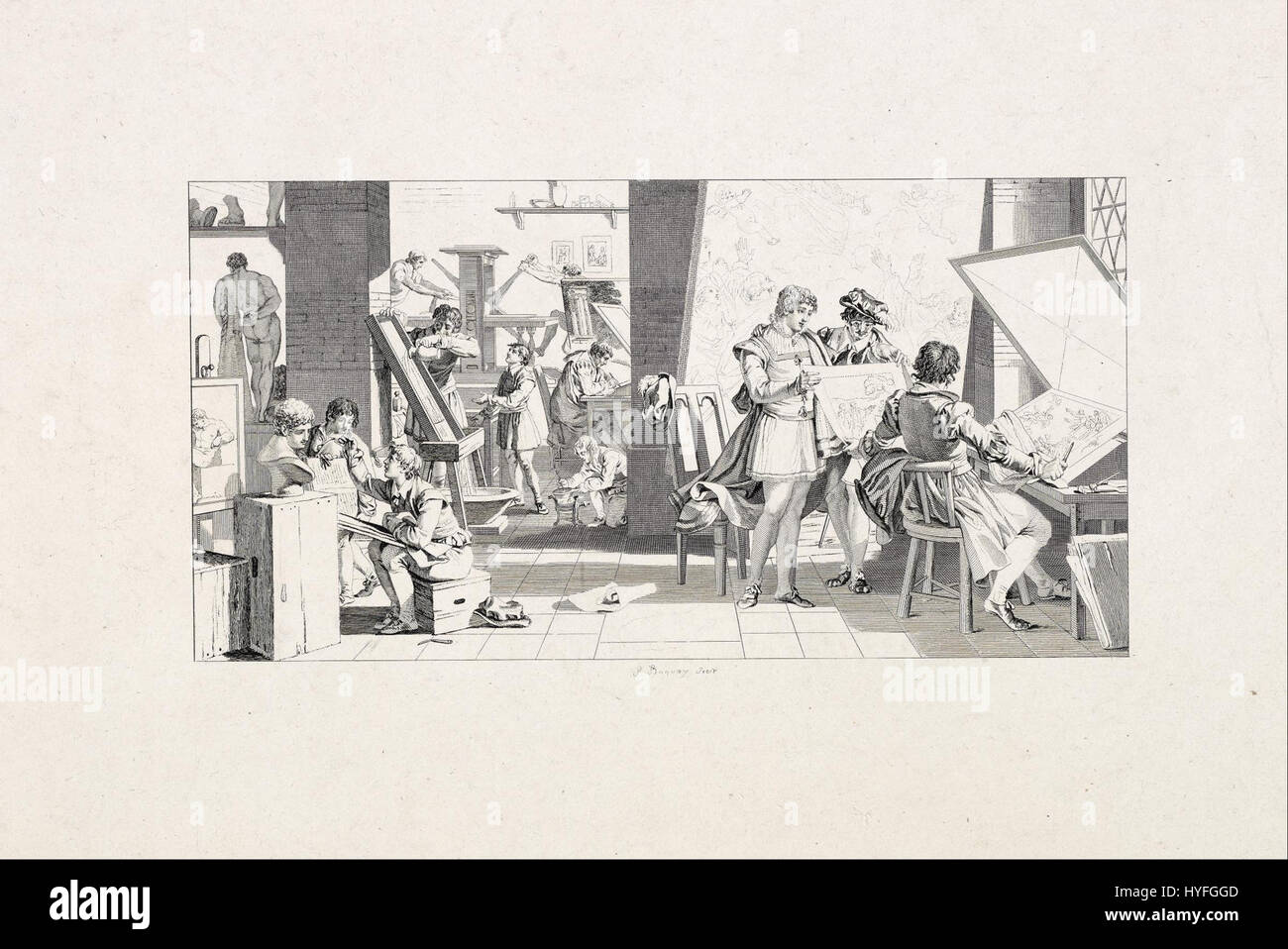 Pierre Charles Baquoy   Studio of a Printmaker   Google Art Project - Stock Image