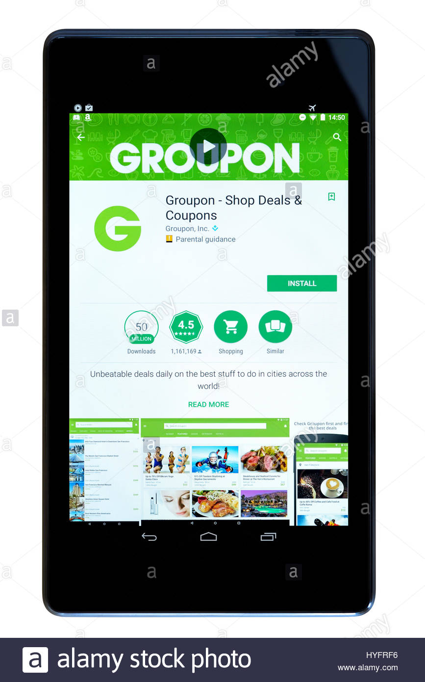 Groupon app on an android tablet PC Dorset England UK Stock