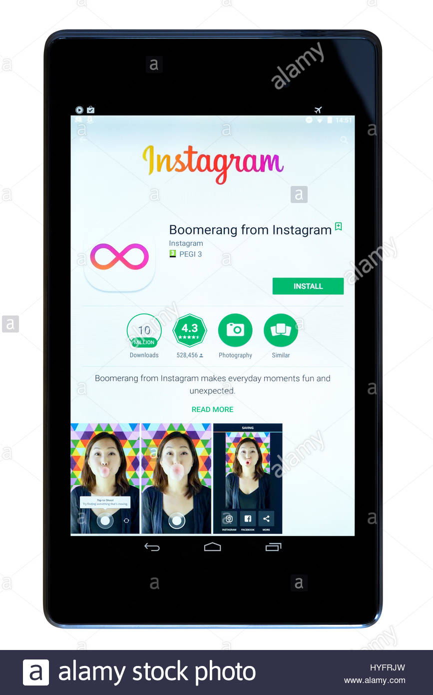 Boomerang from Instagram app on an android tablet PC Dorset England UK - Stock Image