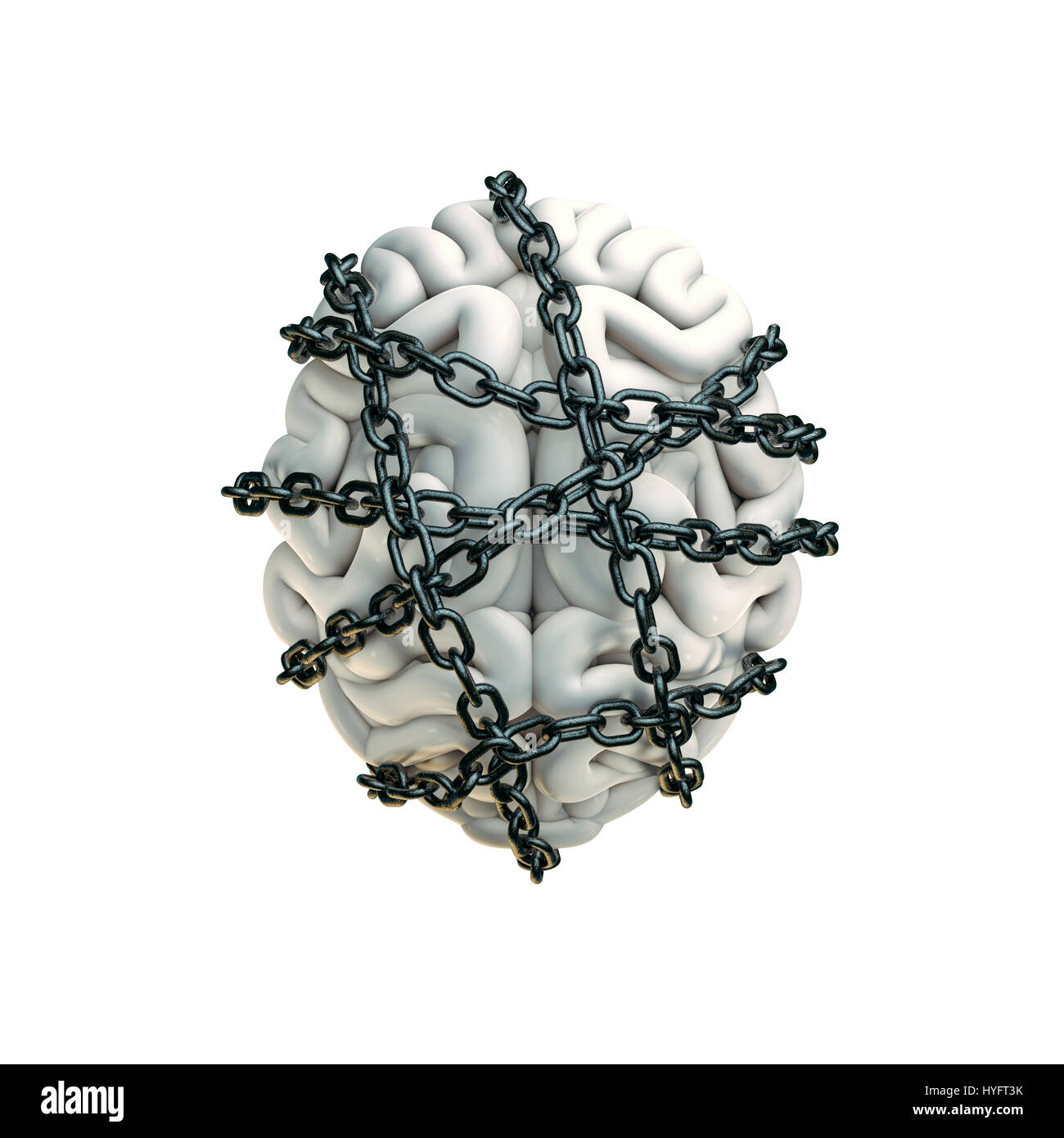 Forbidden thoughts concept / 3D illustration of human brain bound with metal chain - Stock Image